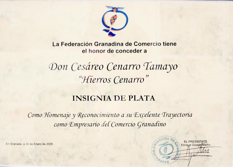Insignia de Plata - Federación Granadina de Comercio